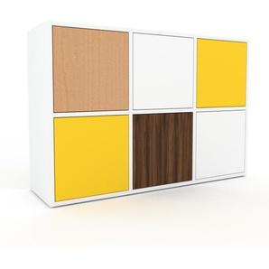 Commode - blanc, contemporaine, élégantes, avec porte jaune - 118 x 80 x 35 cm, personnalisable