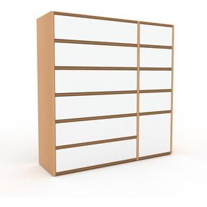 Commode - hêtre, moderne, raffinée, avec porte blanc et tiroir blanc - 116 x 118 x 35 cm