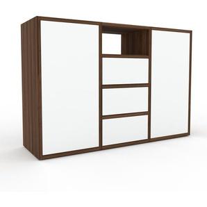 Commode - Noyer, moderne, raffinée, avec porte Blanc et tiroir Blanc - 118 x 80 x 35 cm