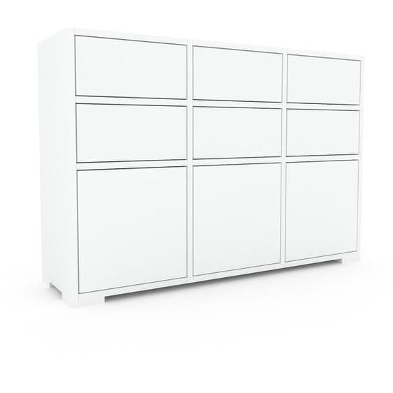 Commode - Blanc, moderne, raffinée, avec porte Blanc et tiroir Blanc - 118 x 81 x 35 cm