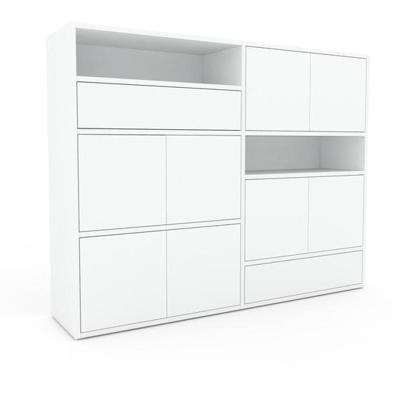 Commode - Blanc, moderne, raffinée, avec porte Blanc et tiroir Blanc - 152 x 118 x 35 cm