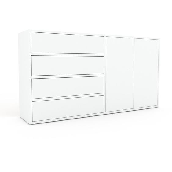 Commode - Blanc, moderne, raffinée, avec porte Blanc et tiroir Blanc - 152 x 80 x 35 cm