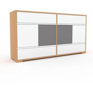 Commode - Hêtre, moderne, raffinée, avec porte Blanc et tiroir Blanc - 152 x 81 x 35 cm