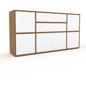 Commode - Chêne, moderne, raffinée, avec porte Blanc et tiroir Blanc - 154 x 80 x 35 cm