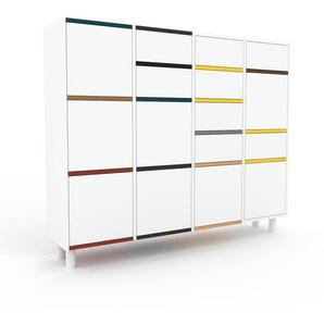 Commode - blanc, moderne, raffinée, avec porte blanc et tiroir blanc - 156 x 130 x 35 cm