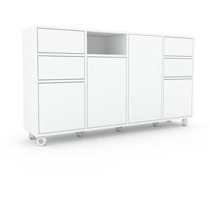 Commode - Blanc, moderne, raffinée, avec porte Blanc et tiroir Blanc - 156 x 87 x 35 cm