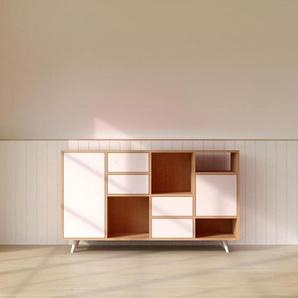 Commode - Hêtre, moderne, raffinée, avec porte Blanc et tiroir Blanc - 156 x 91 x 35 cm