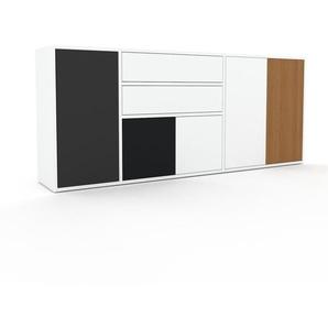 Commode - blanc, moderne, raffinée, avec porte blanc et tiroir blanc - 190 x 80 x 35 cm