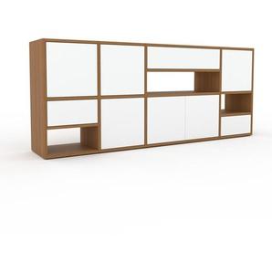 Commode - Chêne, moderne, raffinée, avec porte Blanc et tiroir Blanc - 193 x 80 x 35 cm