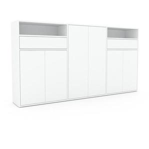 Commode - Blanc, moderne, raffinée, avec porte Blanc et tiroir Blanc - 226 x 118 x 35 cm