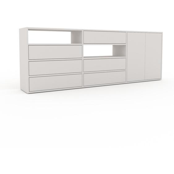 Commode - Blanc, moderne, raffinée, avec porte Blanc et tiroir Blanc - 226 x 80 x 35 cm
