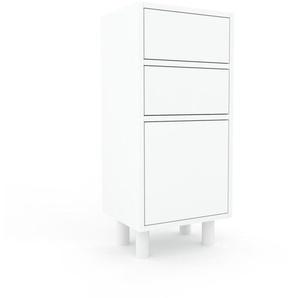 Commode - blanc, moderne, raffinée, avec porte blanc et tiroir blanc - 41 x 91 x 35 cm