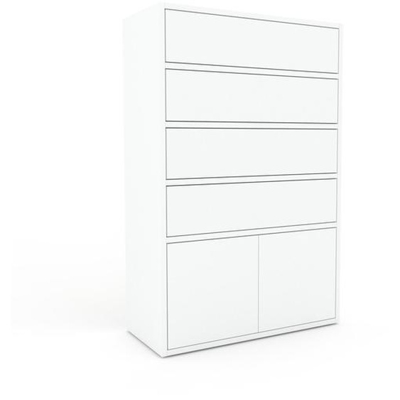 Commode - Blanc, moderne, raffinée, avec porte Blanc et tiroir Blanc - 77 x 118 x 35 cm