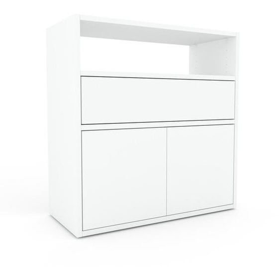 Commode - Blanc, moderne, raffinée, avec porte Blanc et tiroir Blanc - 77 x 80 x 35 cm