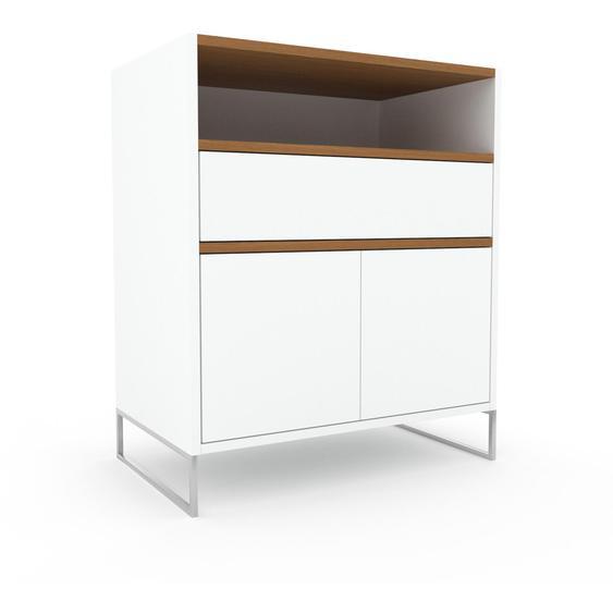 Commode - Blanc, moderne, raffinée, avec porte Blanc et tiroir Blanc - 77 x 91 x 47 cm