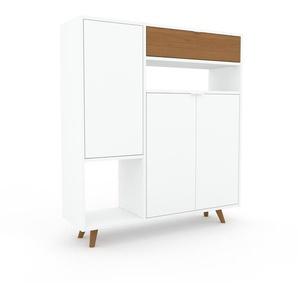 Commode - blanc, moderne, raffinée, avec porte blanc et tiroir chêne - 116 x 130 x 35 cm