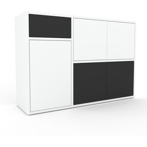 Commode - Blanc, moderne, raffinée, avec porte Blanc et tiroir Anthracite - 116 x 80 x 35 cm