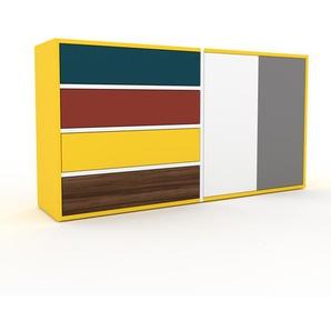 Commode - jaune, moderne, raffinée, avec porte blanc et tiroir bleu - 152 x 80 x 35 cm