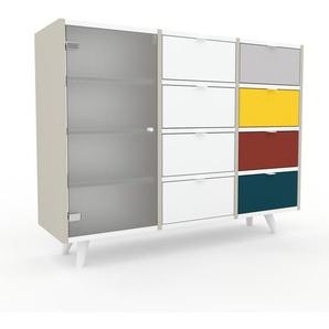 Commode - Blanc, moderne, raffinée, avec porte Verre clair dépoli et tiroir Blanc - 118 x 91 x 35 cm