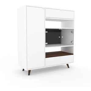 Commode - Blanc, moderne, raffinée, avec porte Verre clair transparent et tiroir Blanc - 116 x 130 x 47 cm