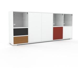Commode - Blanc, moderne, raffinée, avec porte Verre clair transparent et tiroir Chêne - 193 x 81 x 35 cm