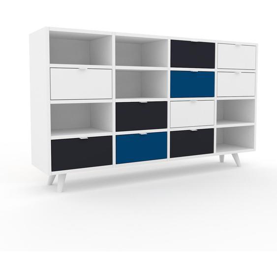 Commode - Blanc, pièce de caractère, sophistiquée, avec tiroir Anthracite - 156 x 91 x 35 cm, personnalisable
