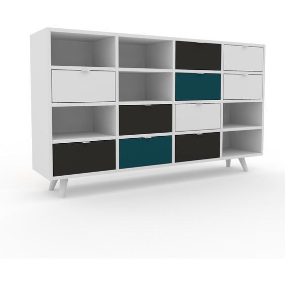 Commode - Blanc, pièce de caractère, sophistiquée, avec tiroir Graphite - 156 x 91 x 35 cm, personnalisable