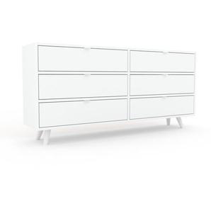 Commode - Blanc, pièce de caractère, sophistiquée, avec tiroir Blanc - 152 x 72 x 35 cm, personnalisable