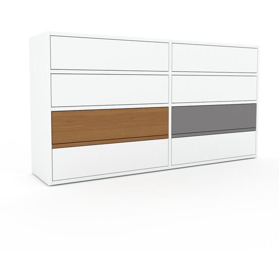 Commode - Blanc, pièce de caractère, sophistiquée, avec tiroir Blanc - 152 x 80 x 35 cm, personnalisable