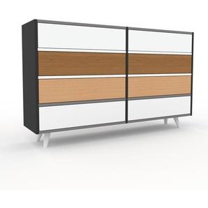 Commode - anthracite, pièce de caractère, sophistiquée, avec tiroir blanc - 152 x 91 x 35 cm, personnalisable