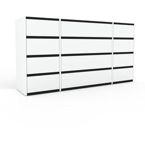 Commode - Blanc, pièce de caractère, sophistiquée, avec tiroir Blanc - 154 x 80 x 35 cm, personnalisable
