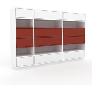 Commode - Blanc, pièce de caractère, sophistiquée, avec tiroir Blanc - 190 x 124 x 35 cm, personnalisable