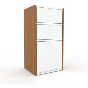Commode - Blanc, pièce de caractère, sophistiquée, avec tiroir Blanc - 41 x 80 x 35 cm, personnalisable