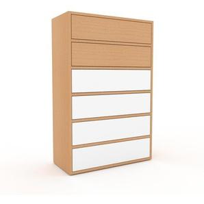 Commode en hêtre, bois massif, aspect naturel, pour chambre de qualité - 77 x 118 x 35 cm