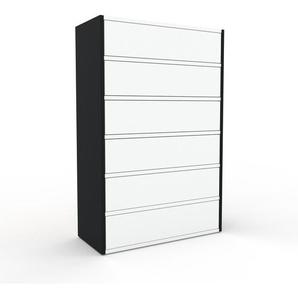Commode - Noir, pièce de caractère, sophistiquée, avec tiroir Blanc - 77 x 118 x 35 cm, personnalisable