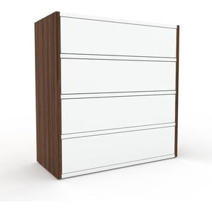Commode - Noyer, pièce de caractère, sophistiquée, avec tiroir Blanc - 77 x 80 x 35 cm, personnalisable
