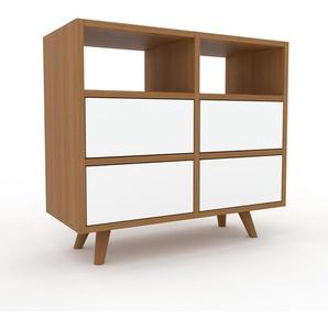 Commode en chêne, bois massif, aspect naturel, pour chambre de qualité - 79 x 72 x 35 cm