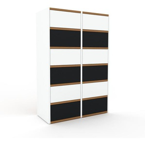Commode - blanc, pièce de caractère, sophistiquée, avec tiroir noir - 79 x 118 x 35 cm, personnalisable