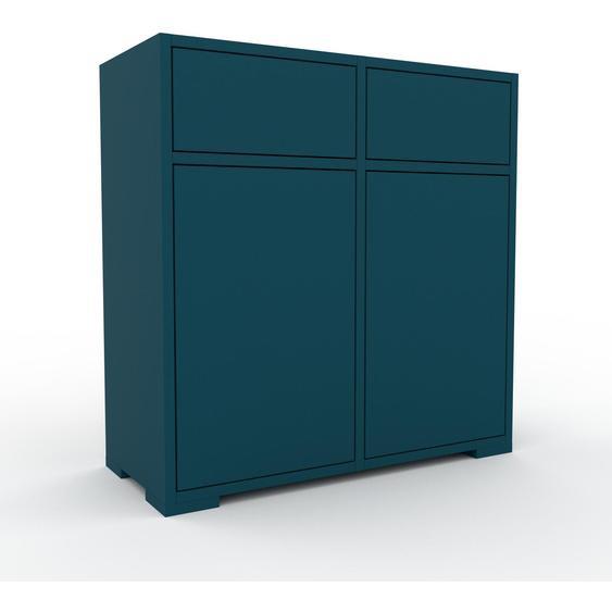 Commode - Bleu pétrole, moderne, raffinée, avec porte Bleu pétrole et tiroir Bleu pétrole - 79 x 81 x 35 cm