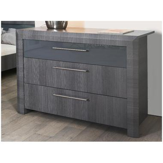 Commode BRITANY - 3 tiroirs - Finition aspect orme gris