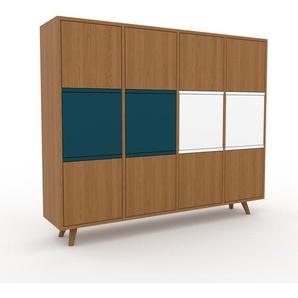 Commode en chêne, bois massif, aspect naturel, pour chambre de qualité - 156 x 130 x 35 cm