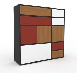 Commode - anthracite, moderne, raffinée, avec porte blanc et tiroir chêne - 116 x 118 x 35 cm