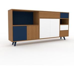 Commode - Chêne, moderne, raffinée, avec porte Blanc et tiroir Chêne - 190 x 91 x 35 cm