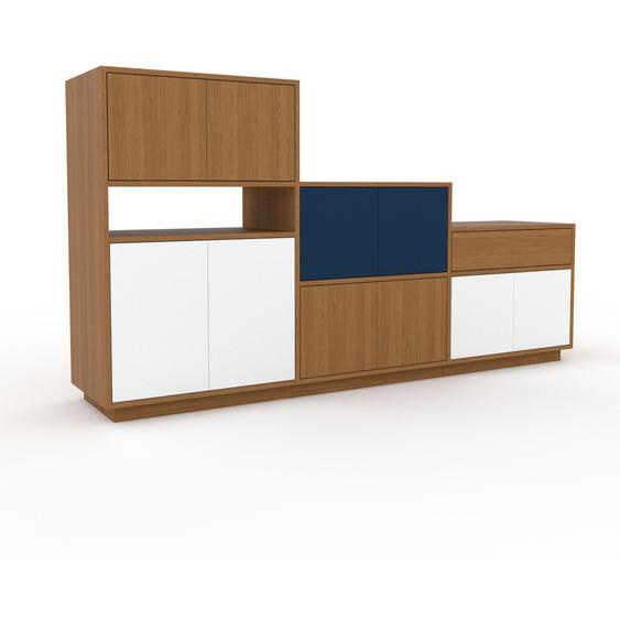 Commode - Chêne, moderne, raffinée, avec porte Blanc et tiroir Chêne - 226 x 124 x 47 cm