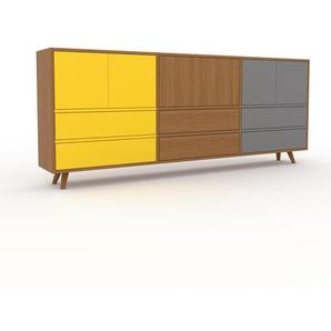 Commode - Chêne, moderne, raffinée, avec porte Jaune et tiroir Jaune - 226 x 91 x 35 cm