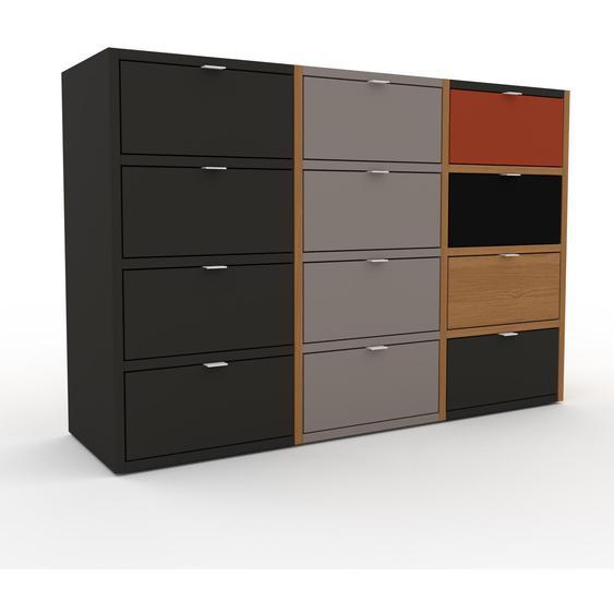 Commode - Chêne, pièce de caractère, sophistiquée, avec tiroir Anthracite - 118 x 80 x 35 cm, personnalisable