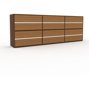 Commode - Noyer, pièce de caractère, sophistiquée, avec tiroir Chêne - 226 x 80 x 35 cm, personnalisable