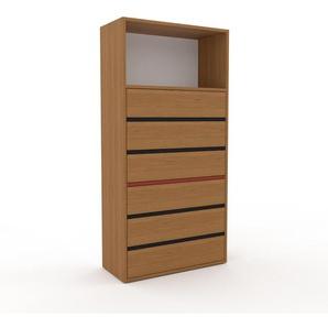Commode en chêne, bois massif, aspect naturel, pour chambre de qualité - 77 x 157 x 35 cm