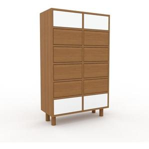 Commode en chêne, bois massif, aspect naturel, pour chambre de qualité - 79 x 130 x 35 cm