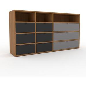 Commode - Chêne, pièce de caractère, sophistiquée, avec tiroir Anthracite - 154 x 80 x 35 cm, personnalisable